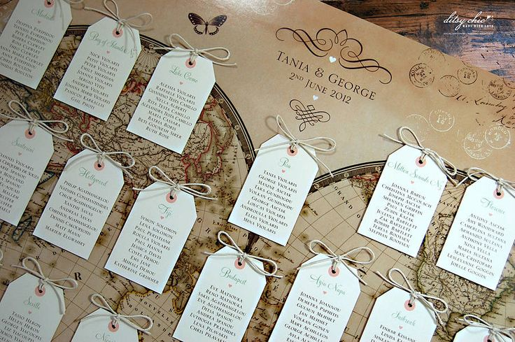 Vintage Style Word Map Wedding Table Plan