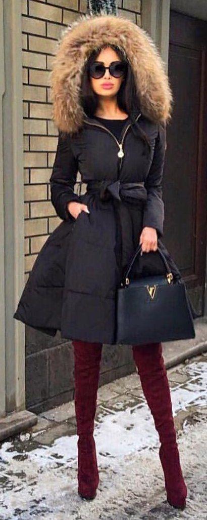 #winter #fashion /  Black Coat / Burgundy OTK Boots / Leather Tote Bag