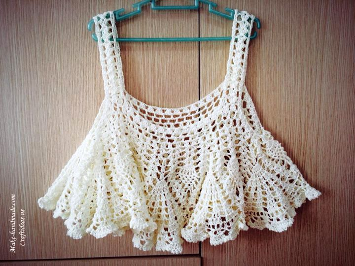 Crochet Cute Summer Lace Tank Top For Girl Tops Trajes