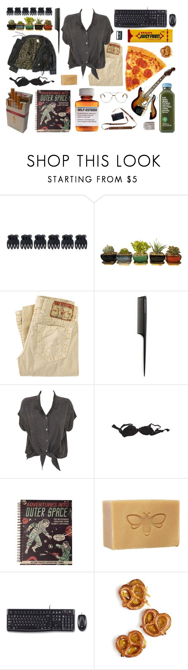 """OOTD #27"" by cara-is-a-freak ❤ liked on Polyvore featuring Accessorize, True Religion, GHD, Evil Twin, Agent Provocateur, Logitech, TDK, Børn and Fendi"
