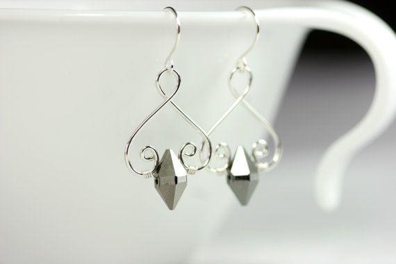 Metallic Grey Earrings Wire Wrapped Jewelry by JessicaLuuJewelry