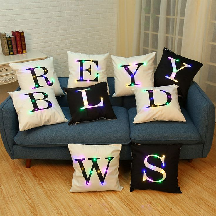 45*45cm LED Lantern Lights Pillow Cushions Lint Pillow Case Waist Back Throw Home Party Sofa Decor