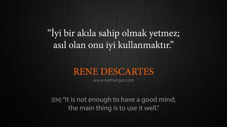 "Q007 ""İyi bir akıla sahip olmak yetmez; asıl olan onu iyi kullanmaktır."" RENE DESCARTES [EN] ""It is not enough to have a good mind; the main thing is to use it well."" www.nethangar.com"
