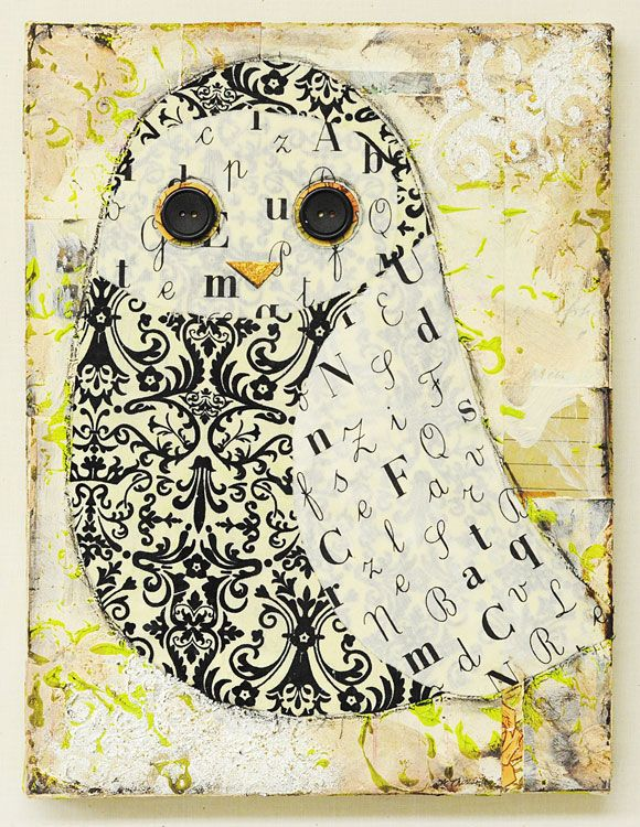 Add texture to a canvas using paints and paper, then create an owl using fabric with buttons for the eyes. #DIY