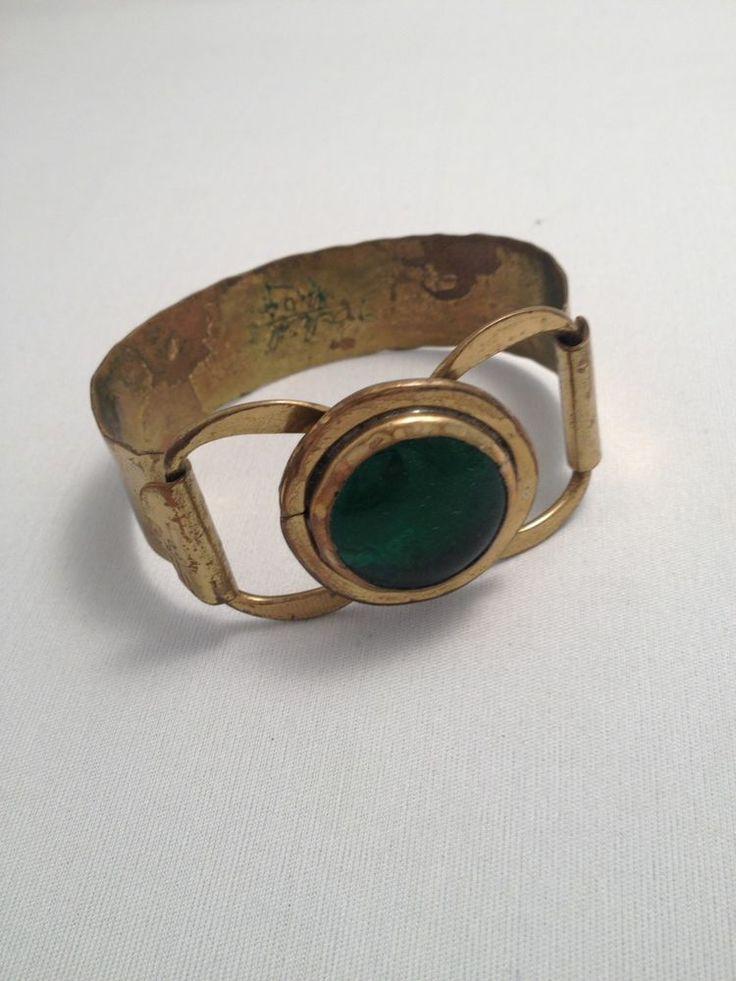 Signed Vintage hand worked bracelet, Rafael Canada,  Modernist brutalism design