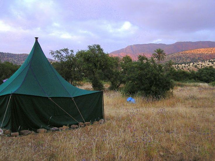 Couché de soleil dans l'oasis - Atlas marocain  Blog de voyage www.trace-ta-route.com http://www.trace-ta-route.com/maroc-randonnee-a-cheval/  #maroc #morocco #atlas #oasis #tent #bivouac