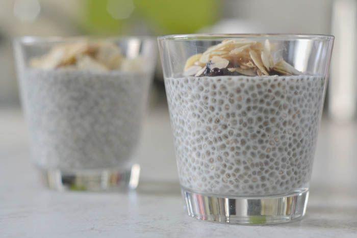 Chia Pudding Grundrezept: 100 ml Flüssigkeit + 1 gehäufter Esslöffel Chia-Samen
