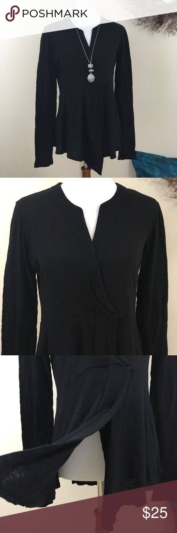 "Anthropologie Left of Center Tunic Top Black long sleeve tunic top with split neck in very good pre-loved condition. Asymmetrical hemline with split front. This lightweight fabric is 100% cotton and is slightly sheer (a camisole or black bra would work). 🌻 Size Small (although oversized). 🌻 Measured bust 18"" lying flat / length approximately 27 to 29"" at longest point Anthropologie Tops Tunics"