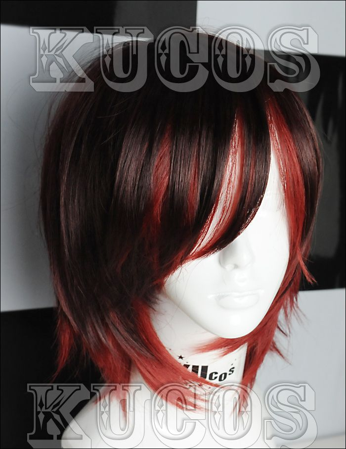 """RWBY """"Red"""" Trailer Ruby Rose Short black red mix cosplay wig free wig cap US $14.99"""