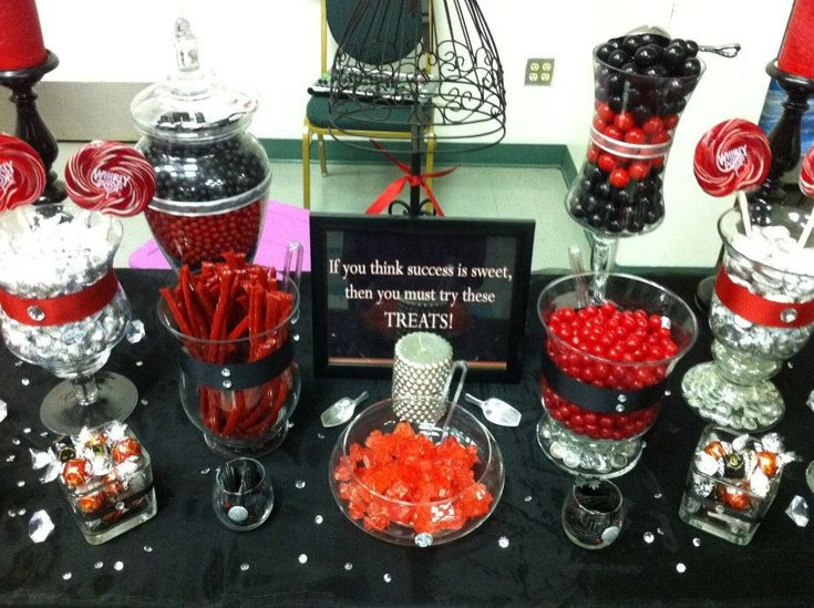red white black candy buffet