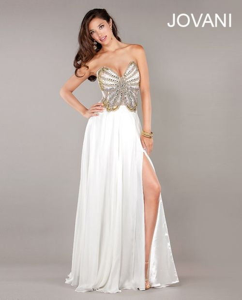 Sexy white butterfly corset prom dress 2013 by Jovani