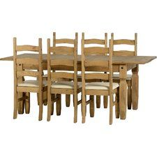 Corona Extendable Dining Set with 6 Chairs