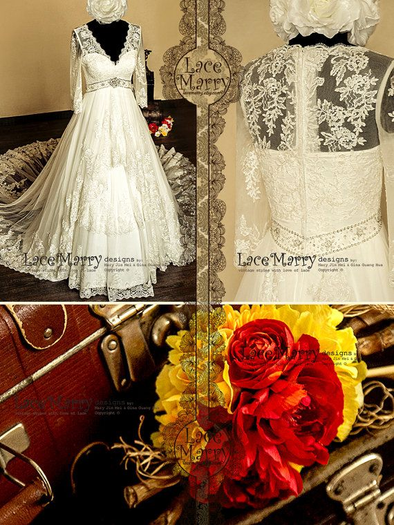 Ornate Empire Style Vintage Inspired Aline Lace by LaceMarry, $385.00