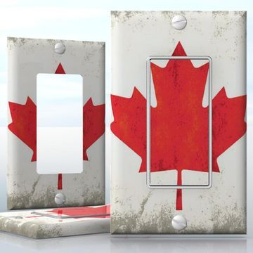 DIY Do It Yourself Home Decor - Easy to apply wall plate wraps | Grunge Canadian Flag  Old Canadian flag pattern  wallplate skin sticker for 1 Gang Decora LightSwitch | On SALE now only $3.95