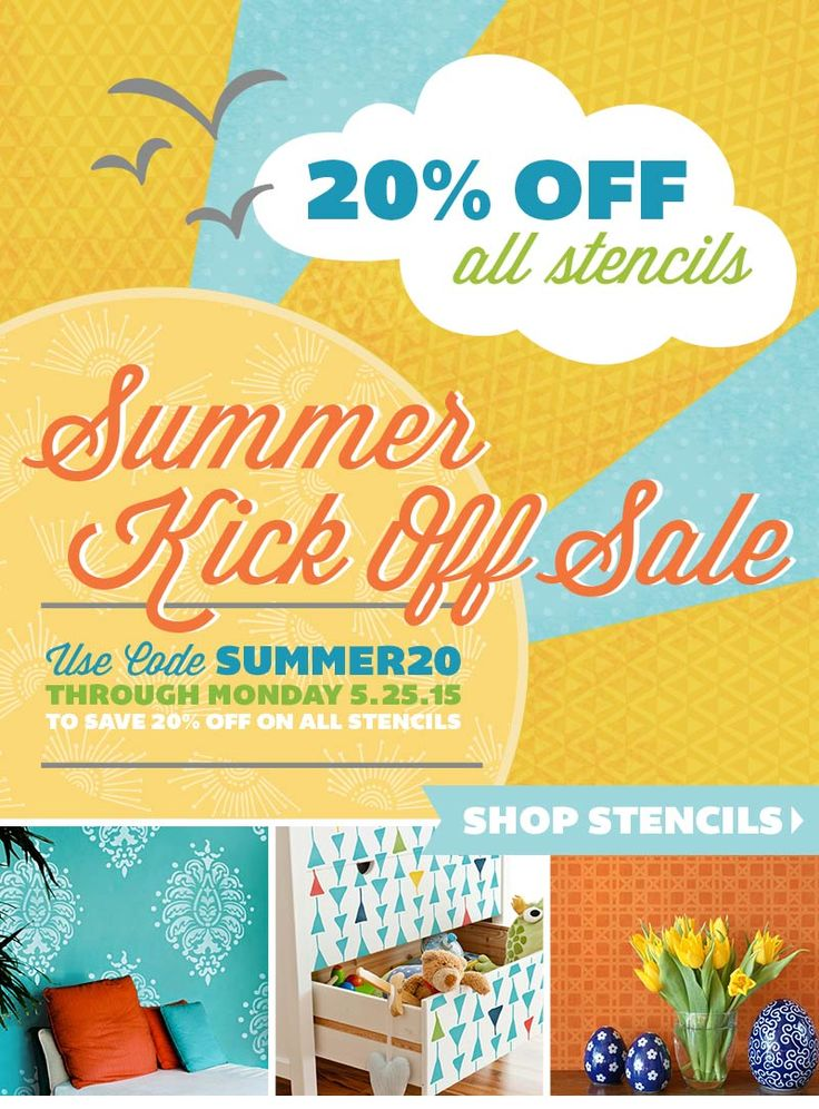 Instant Stencils For Walls : Kick off your summer stenciling with instant savings all