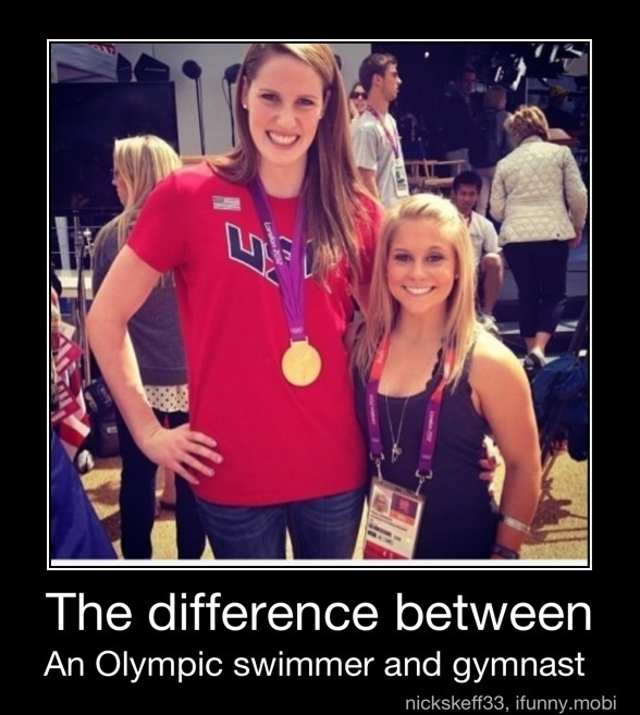 Missy Franklin and Shawn Johnson this made me laugh, but I don't mind being short