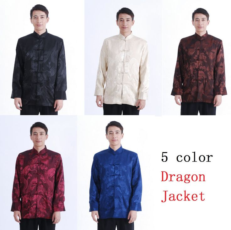 Shanghai Story new sale Full dragon man Chinese traditional cloth Blue tang suit clothes mandarin collar jacket for men M114X