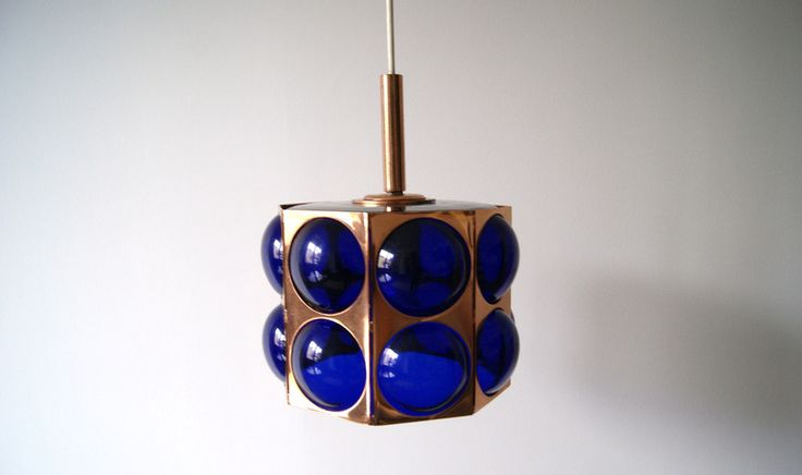 seltene Hängelampe Kupfer Kobaltglas von mele-pele auf DaWanda.com