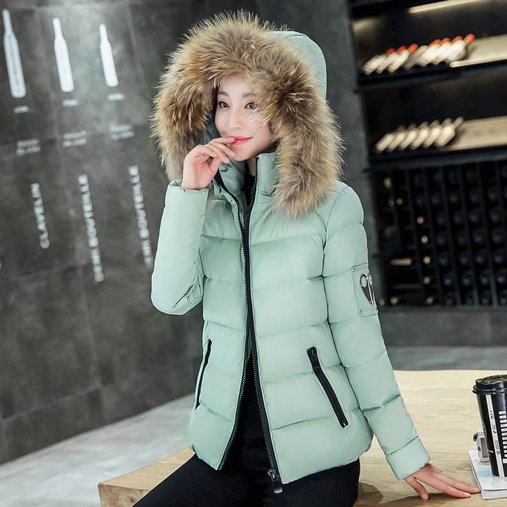 Women Down Fur Parkas short Winter Fashion Women Coat Down jacket for Female Clothing Thick Outerwears Plus Size #Affiliate