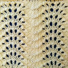The Feather and Fan stitch is a four-row repeat and is knitted in a multiple of eighteen stitches plus two. Just like the Fan stitch, the Feather and Fan stitch's wave-like characteristics makes it perfect for edgings on sleeves, scarves and many other knitted projects.