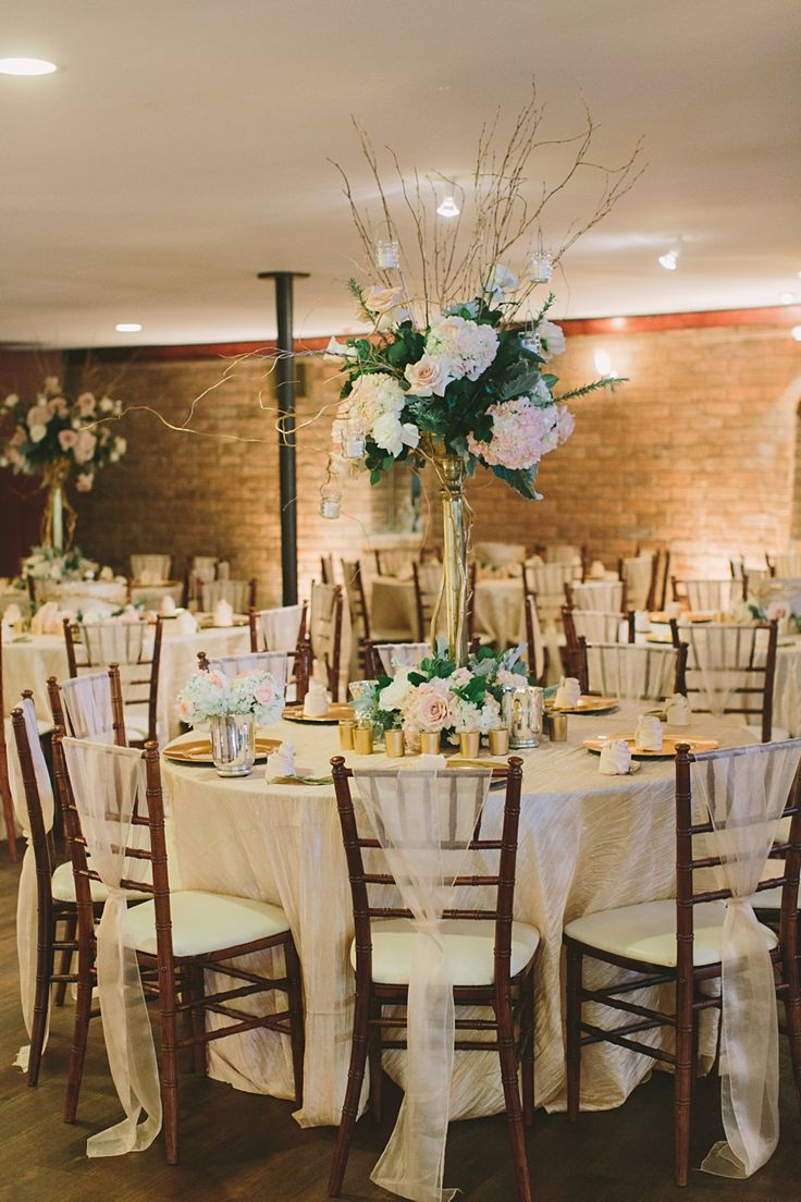 Vanilla Crinkle Taffeta linen with our Sand Organza Sashes - Blush, greenery, ivory flowers, mahogany chivari chairs, romantic wedding - The Gallery - Katie Lamb Photography - Over The Top Linen