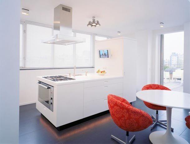 Apartments. Gorgeous Apartment Interior In Minimalist Style Design: Excellent Minimalist Interior Kitchen Design Ideas In Contemporary Apartment With Kitchen Set And Red Flowers Pattern Sofa ~ wegli