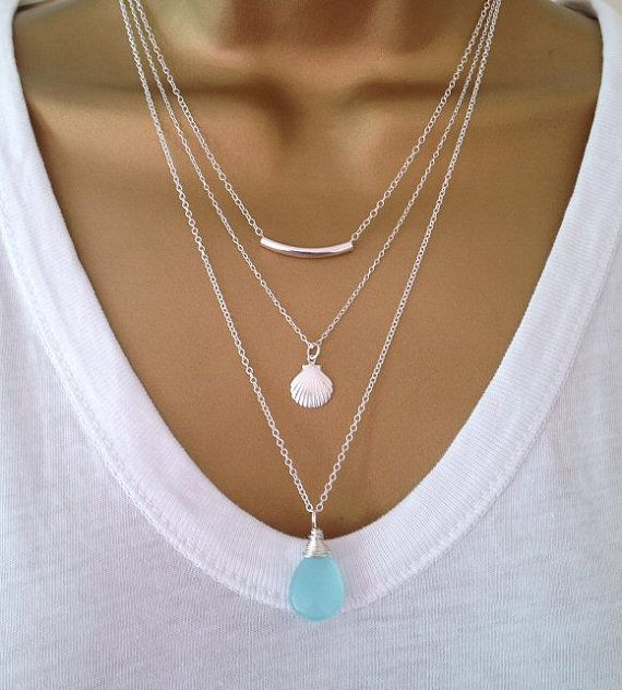 3 Sterling Silver Layering Necklaces by PABJewellery on Etsy, £59.00