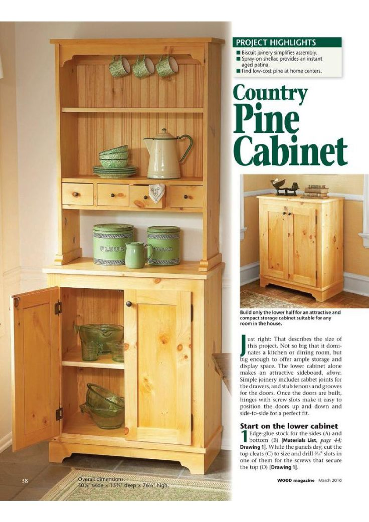 DIY Country Pine Cabinet plan