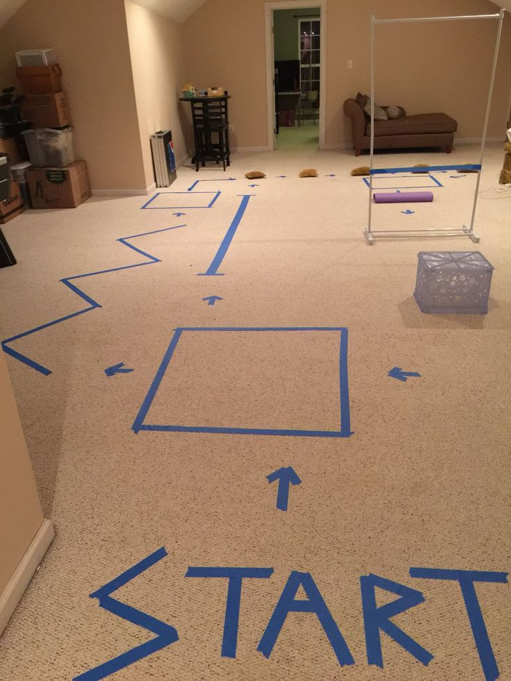 Rainy day? How about a homemade obstacle/agility course for the kids? Here is ours! Running on lines, jumping over boxes, jumping jacks in boxes... add your own fun!