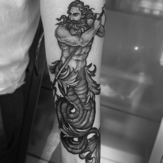 Finished this Poseidon tattoo today :) #poseidon #poseidontattoo #tattoo…