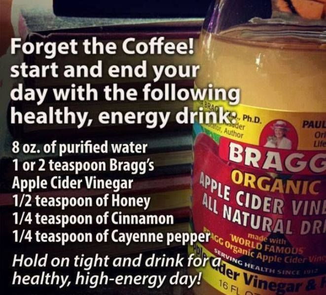 Start your day with this natural and healthy energy drink *apple cider vinegar *honey *cinnamon *cayenne pepper
