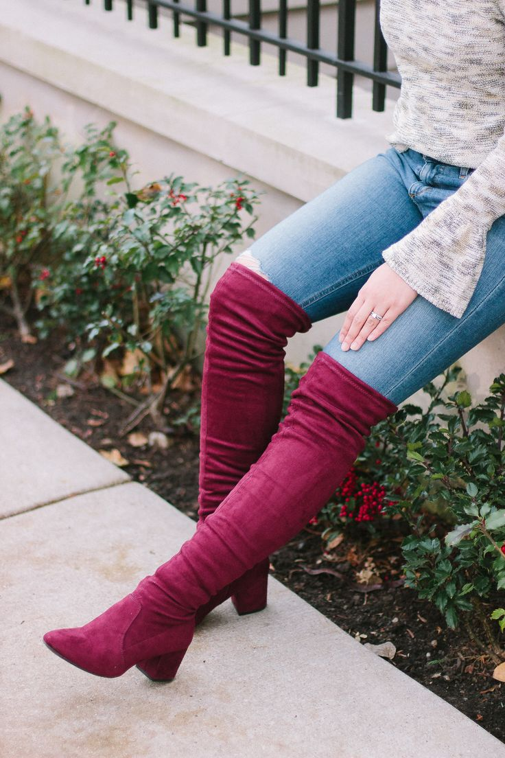 Family Christmas Traditions // Metallic Bell-Sleeve Top // Burgundy Over the Knee Boots // Holiday Outfit