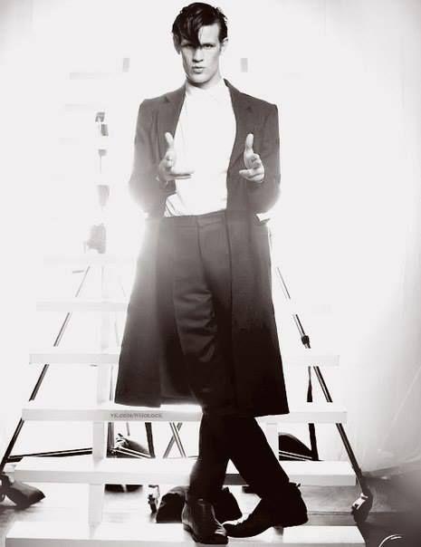 Matt Smith - Doctor Who - Black and white -finger guns pose