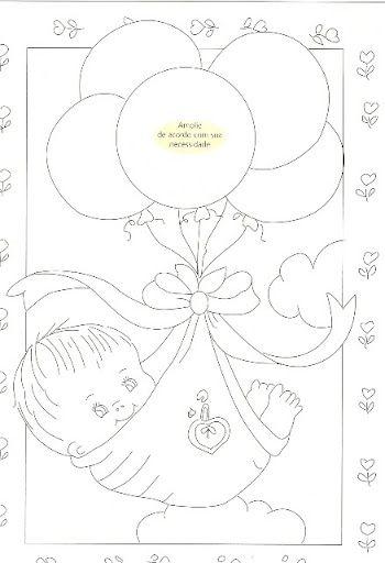 bebé sostenido por globos. idea colgante
