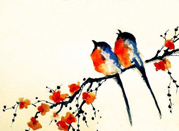 2 birds on a branch- printed postcard