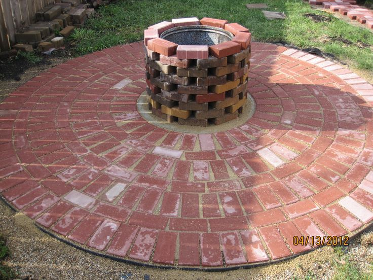 29 best outdoor brick fire pit images on pinterest for What kind of bricks for fire pit