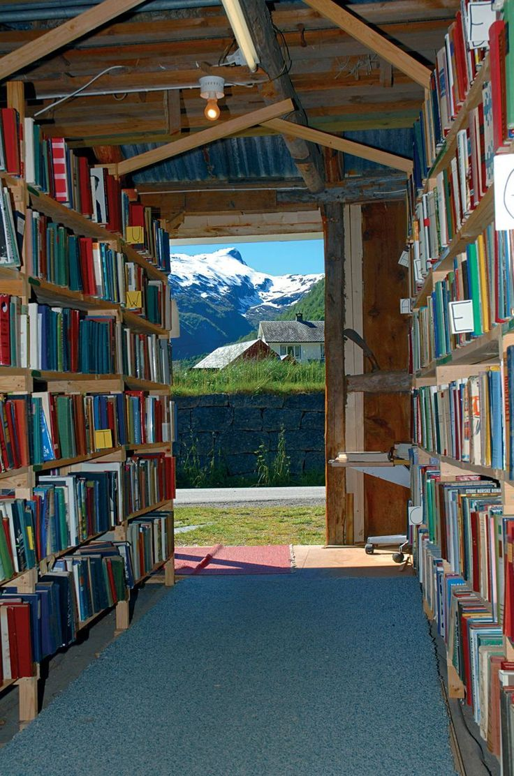 """Fjaerland Book Town, Mundal A must for book lovers, """"Book Town"""" is a four kilometre expanse of second hand tomes in the centre of Fjærland. There are art galleries and cafes on the side, along with sensational views of the surrounding mountains"""