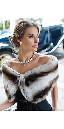 Natalie in a Chinchilla Faux Fur Wrap by Fabulous Furs (100% faux fur). Makeup by Chenese.
