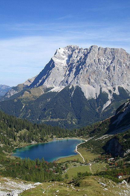 Zugspitze range high above the Seebensee lake, Bavaria, Germany (by bookhouse boy).