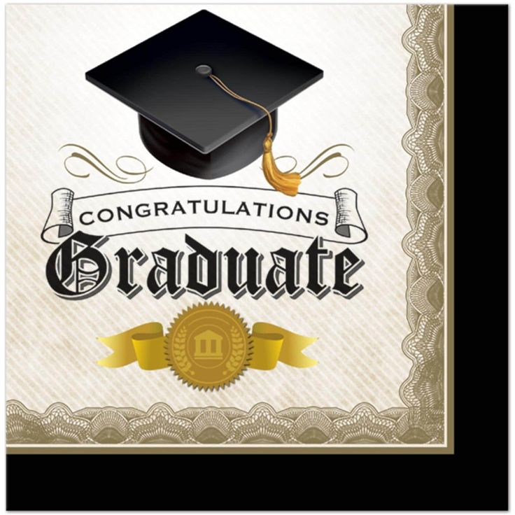 """Club Pack of 192 Cap & Gown Black and Ivory Congratulations, Graduate"""" Lunch Napkins 6.5"""""""