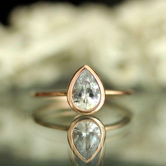 Saphir blanc 14K Or Rose bague de fiançailles, bague, bague de pierres précieuses - fait à l
