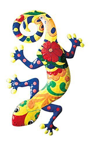 Gecko Metal Wall Art Garden Mexican Talavera Style Colorful
