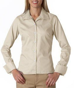 UltraClub Women's Whisper Elite Long Sleeve Twill Shirt - Stone - X-Large UltraClub. $41.26