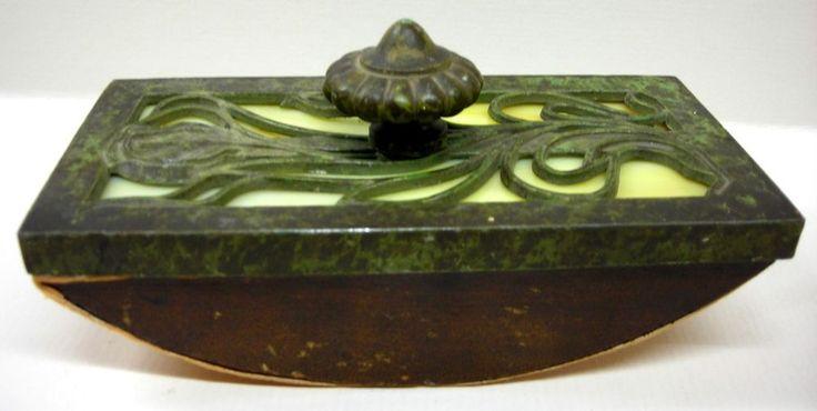 Apollo Studios Nouveau Art Crafts Slag Glass Bronze Wood