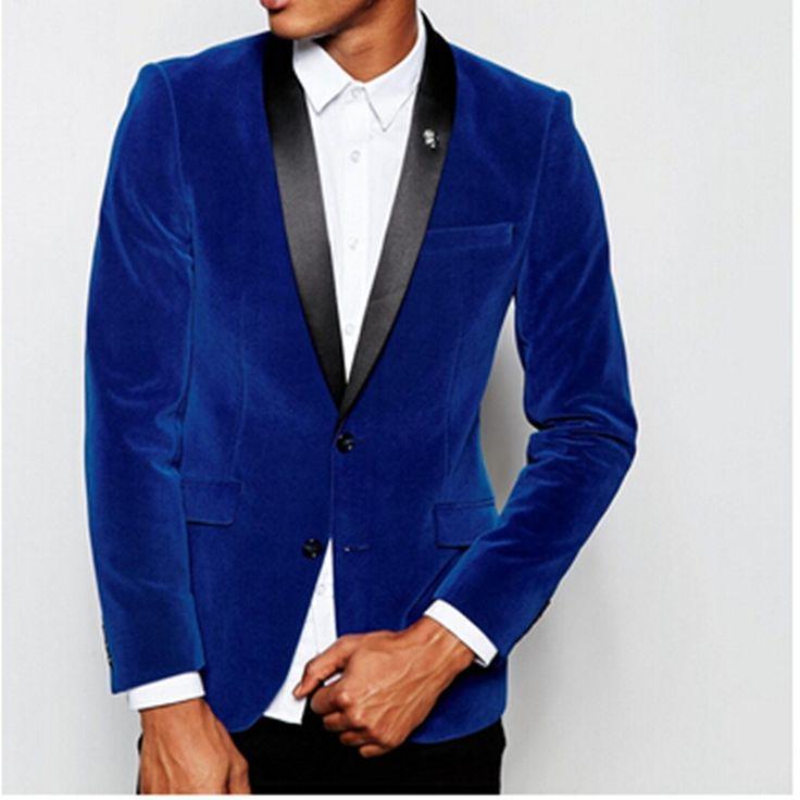 Groomsmen Shawl Lapel Groom Tuxedos Velvet Royal Blue Jacket Men Suits Wedding Man groom men suit (Jacket+Pants+Tie+Hankerchief)