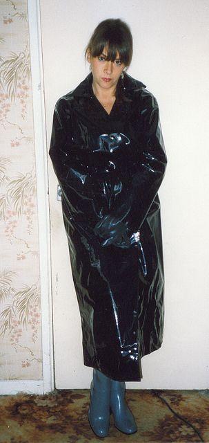 Black PVC Raincoat & Grey Rubber Boots