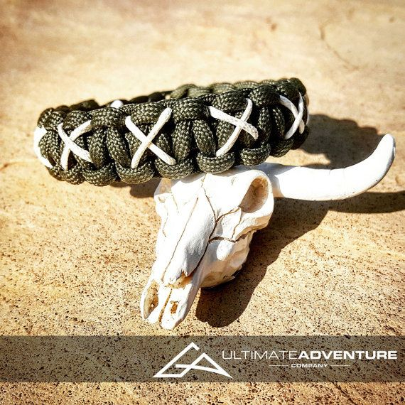 Dark Green Paracord Bracelet with White X Thread, Hunting Fashion, Fathers Day Gift, Mens Bracelet, EDC, Every Day, Wanderlust Accessories