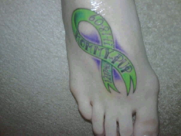 Non-Hodgkins Lymphoma tattoo. Love the colors, green for lymphoma and purple for survivor.