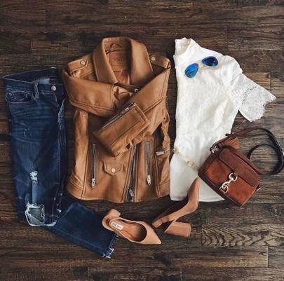Amanda Miller posting about her favorite cognac leather jacket- on sale for under $60