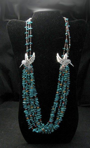 Everett & Mary Teller 5 Strand Turquoise & Silver Overlay Hummingbird Necklace